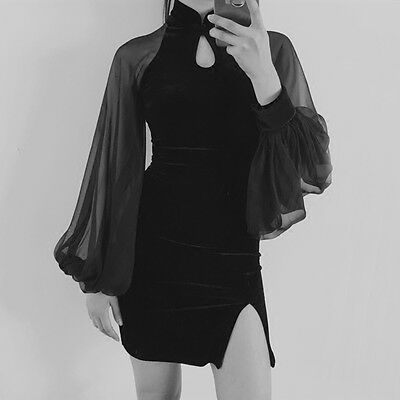 Japan Vintage Gothic Lolita Fashion Puff Sleeve Slim Black Cheongsam Dress Cool#