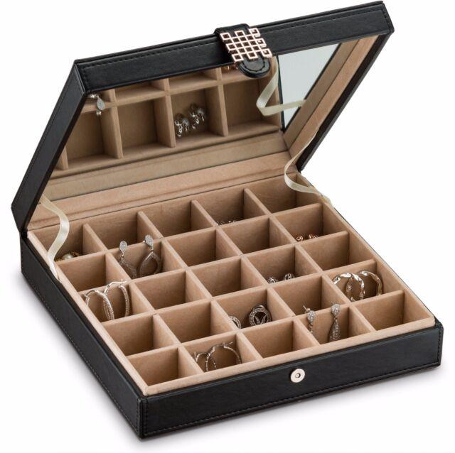 Earring Organizer Holder 25 Slot Jewelry Box Case For Earrings Black