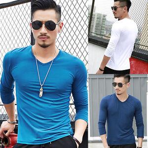 Casual-Cotton-Mens-Soft-Long-Sleeve-V-Neck-Plain-Shirt-T-shirt-Shirts-Basic-Tee