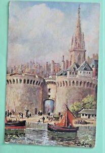 ST-MALO-THE-GRAND-PORT-tucks-oilette-picture-postcards-SIGN-ppc