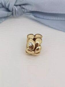 Authentic-Pandora-14k-14ct-Gold-039-Golden-Dream-039-Diamond-Charm-Bead-750408D