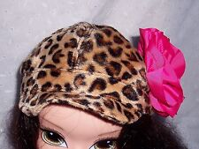 GIRL HAT-CAP-LEOPARD BROWN PRINT FAUX  FUR-PINK FLOWER -BY OKIE DOKIE: ONE SIZE
