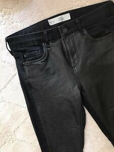 fc5c8804b4a7e3 Topshop moto Skinny Mid Rise Pants Size 2 Fabric Black With Faux ...