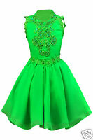 Toddler Girl Pageant Wedding Dance Formal Dress Green Yellow 1 2 3 4 5 6 7
