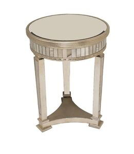 Charmant Details About Horchow Z Gallerie Borghese Style Champagne Mirrored Round  Accent Side Table