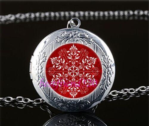 Rouge élégant Snowflake cabochon verre Tibet Argent Médaillon Collier Pendentif