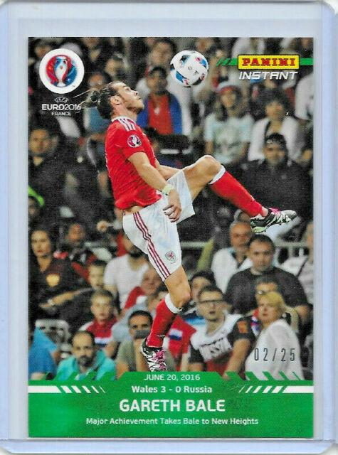 2016 PANINI INSTANT UEFA EURO SOCCER GARETH BALE #39 GREEN PARALLEL 2/25