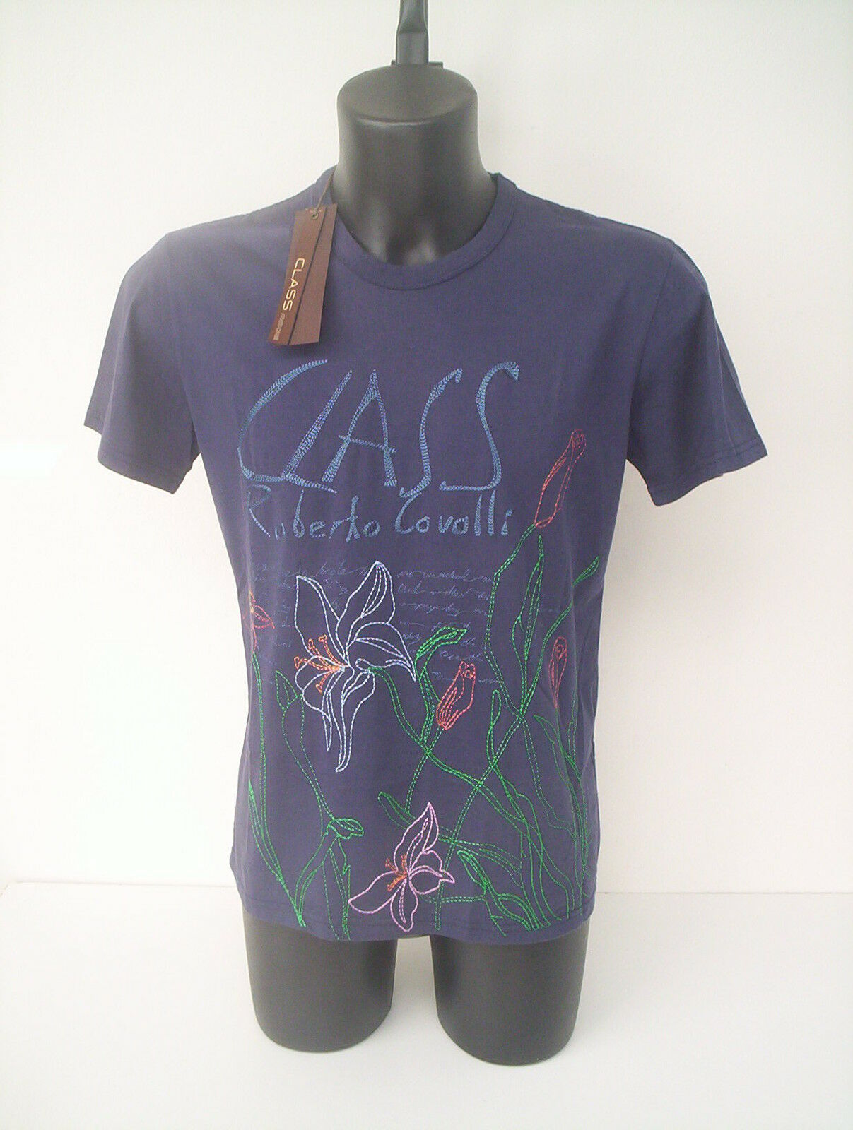 Roberto Cavalli  t-shirt  blu  marine ricamata  tg  48