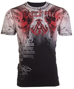 ARCHAIC-by-AFFLICTION-Mens-T-Shirt-NIGHTWATCHER-Skulls-BLACK-RED-Biker-40