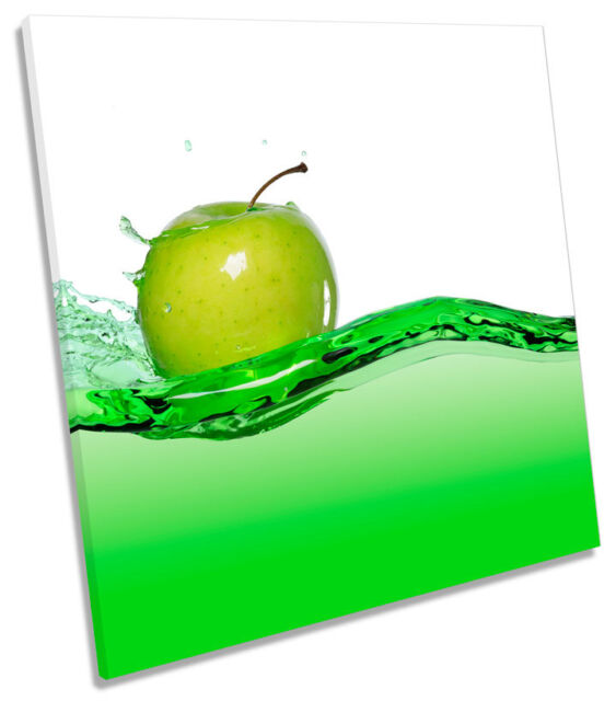Kitchen Apple Juice Food Drink SQUARE CANVAS WALL ART Boxed Framed