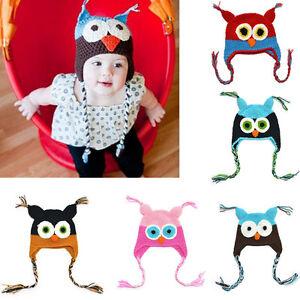 Cute Baby Girl Toddler Infant Owls Knit Crochet Winter Hat Beanie Cap Cotton Hat