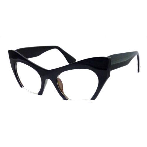 HIGH Fashion Bottom Pointed Cut Cat Razor Women Frame Clear Lens Eye Glasses NEW