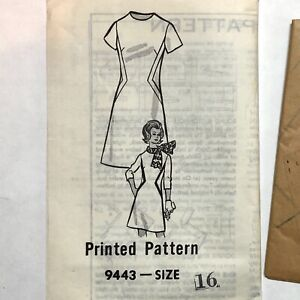 Vintage 1970s MARIAN MARTIN Sewing Pattern A-Line Dress Size 16 UNCUT