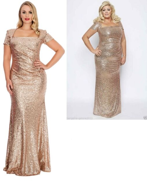 Gemma Collins Style Gold/champagne Sequin Square Long Evening Dress ...