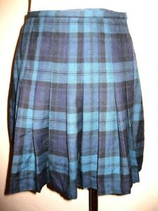 fbf3fe535938 Image is loading The-limited-vintage-navy-green-plaid-pleated-schoolgirl-