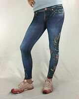 Bejeweled Leggings Jeggings Susan Fixel Jeans Roses Couture M