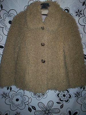 ❤❤  RIVER ISLAND...FAUX  FUR  VINTAGE  SHABBY  TEDDY  BEAR  JACKET  8  FAB  ❤❤