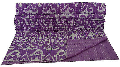 Indian Queen Size Kantha Quilt Stitched Gudari Ikat Print Purple Bedspread Throw