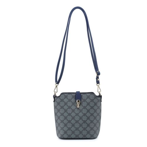 Womens Roomy Floral Pattern Faux Leather Crossbody Messenger Bucket Shoulder Bag