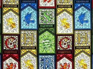 HARRY-POTTER-FABRIC-STAINED-GLASS-HOUSES-CRESTS-CAMELOT-100-COTTONS-BY-THE-YARD