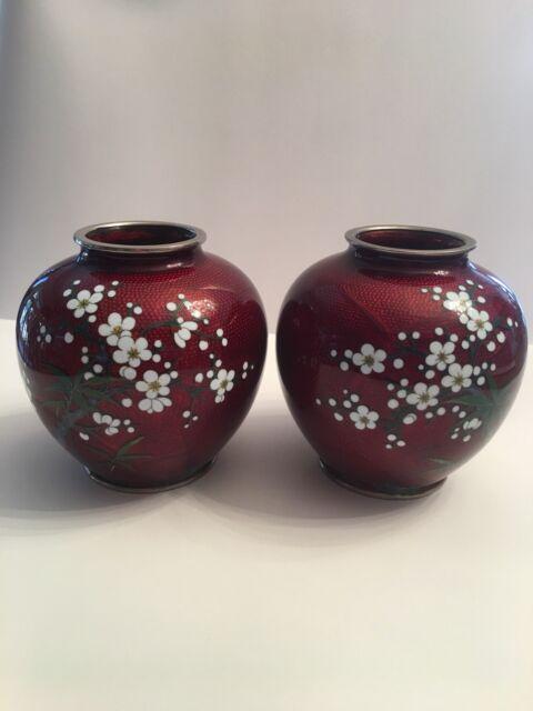 Antique Pair Japanese Ginbari Cloisonne Vases Ebay