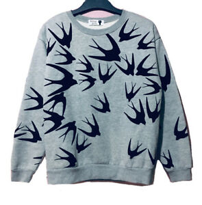 Swallow Velour Printed Grey Pullover