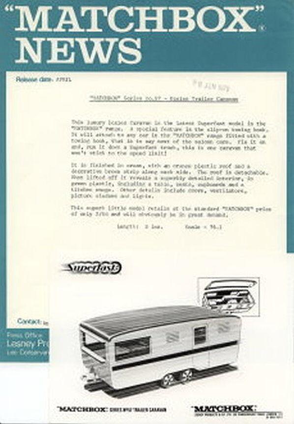 MATCHBOX News giugno giugno giugno 1970 Superfast 57b Eccles Trailer Caravan con S & W FOTO 867285