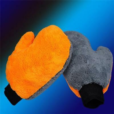 1x Coral Fleece Wash Glove Cleaning Coral Velvet Car Washing Brush Cloth 6L