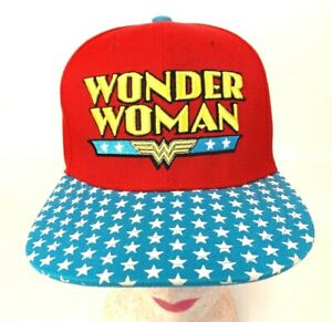 WONDER WOMAN SNAPBACK HAT CAP ADJUSTABLE SOLID RED STARS AMERICA LOGO DC COMICS