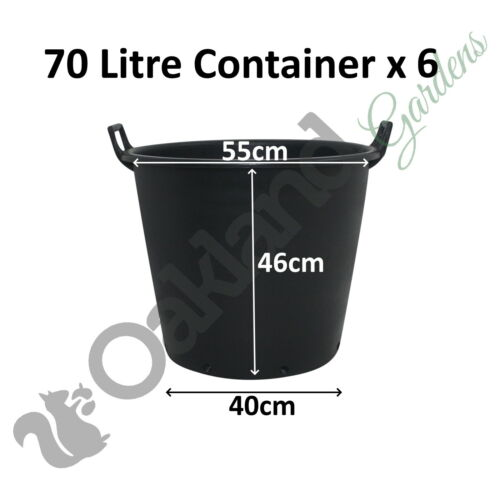 6 x 70 Litre Plant Tree Pot With Handles Heavy Duty 70L Lt Big Large Plastic