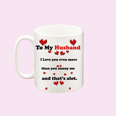 PERSONALISED HUSBAND WIFE I LOVE YOU MUG CUP CUTE VALENTINES DAY BIRTHDAY GIFT
