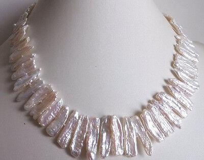 noble cultured white biwa pearl necklace 17 inches