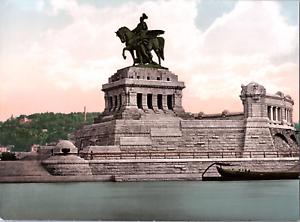 Deutschland-Koblenz-Denkmal-Kaiser-Wilhelm-I-vintage-print-photochromie-vi