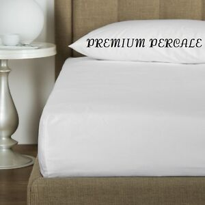 2 New White Queen 60x80x12 Percale Deep Pocket Fitted Hotel Bed