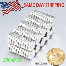 100 Pcs 6mm X 15mm Neodymium Disc Strong Rare Earth Small Fridge Magnets N35 Us