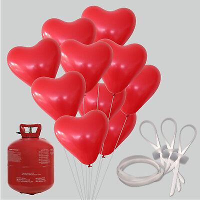 50/100 Herz Luftballons mit Ballongas Hochzeit Helium Verschlüsse Herzballons