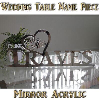PERSONAL BRIDAL TABLE CENTRE PIECE - SILVER MIRROR ACRYLIC WEDDING DECORATION