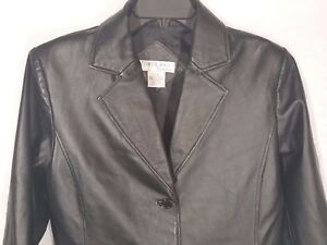 2853182aa Details about TOWER HILL COLLECTION Women's Black Leather 2 Button 2 Pocket  Jacket Size 12