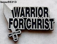 """""""WARRIOR FOR CHRIST"""" PEWTER BIKER MOTORCYCLE VEST JACKET HAT PINS"""