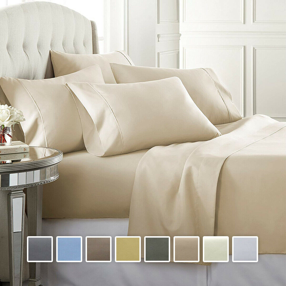 Wrinkle Free 650 Thread Count Cotton Blend Sheet Set Solid Sateen Bed Sheets
