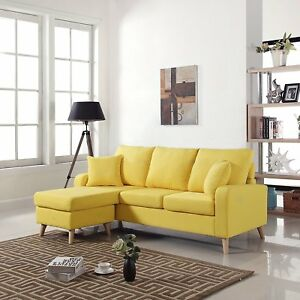 Details about Mid Century Modern Couch Small Space Reversible Fabric  Sectional Sofa, Yellow