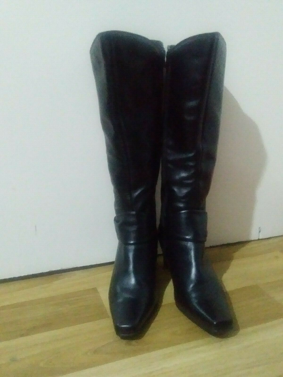 Womens Black Leather Boots 5.5 Ladies High Heels