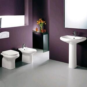 Sanitari a terra in ceramica bagno completo wc bidet e sedile lavabo ...