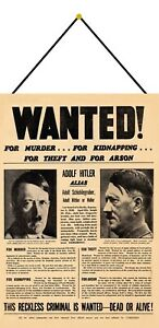 Wanted ! Hitler for Murder Schild mit Kordel Metal Tin Sign 20 x 30 cm F0305-K