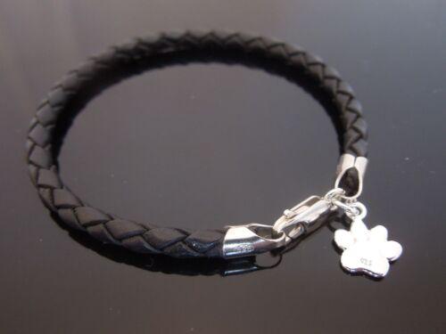 4mm Schwarz geflochtenes Leder Armband mit Sterlingsilber Hund Hunde Pfote charm