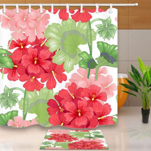 "Geranium Flowers and Leaves Waterproof Bathroom Fabric Shower Curtain 71/"""