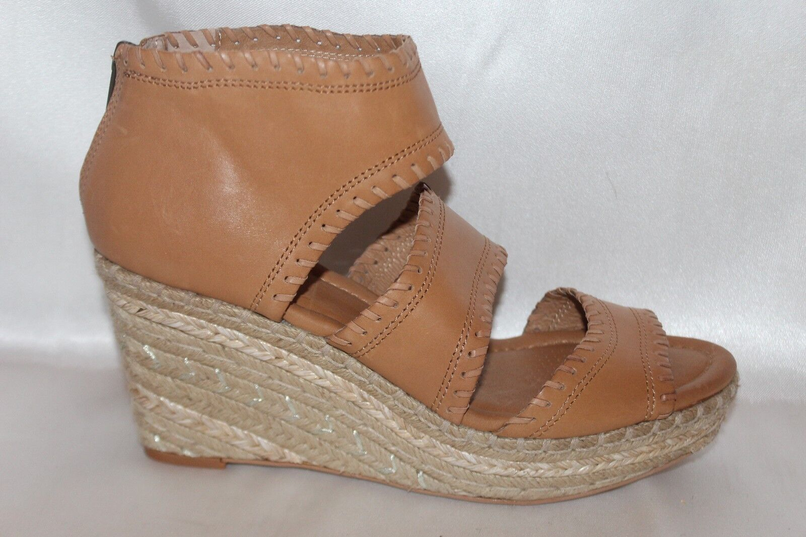 NEW CORSO CORSO CORSO COMO Camel Leather JOYCE Jute Open Toe Wedge Platform Sandal 8.5  169 45dd9f