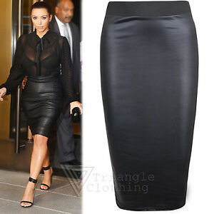 Womens Pencil Midi Wet Look Skirt Wiggle Bodycon High Waisted Faux ...