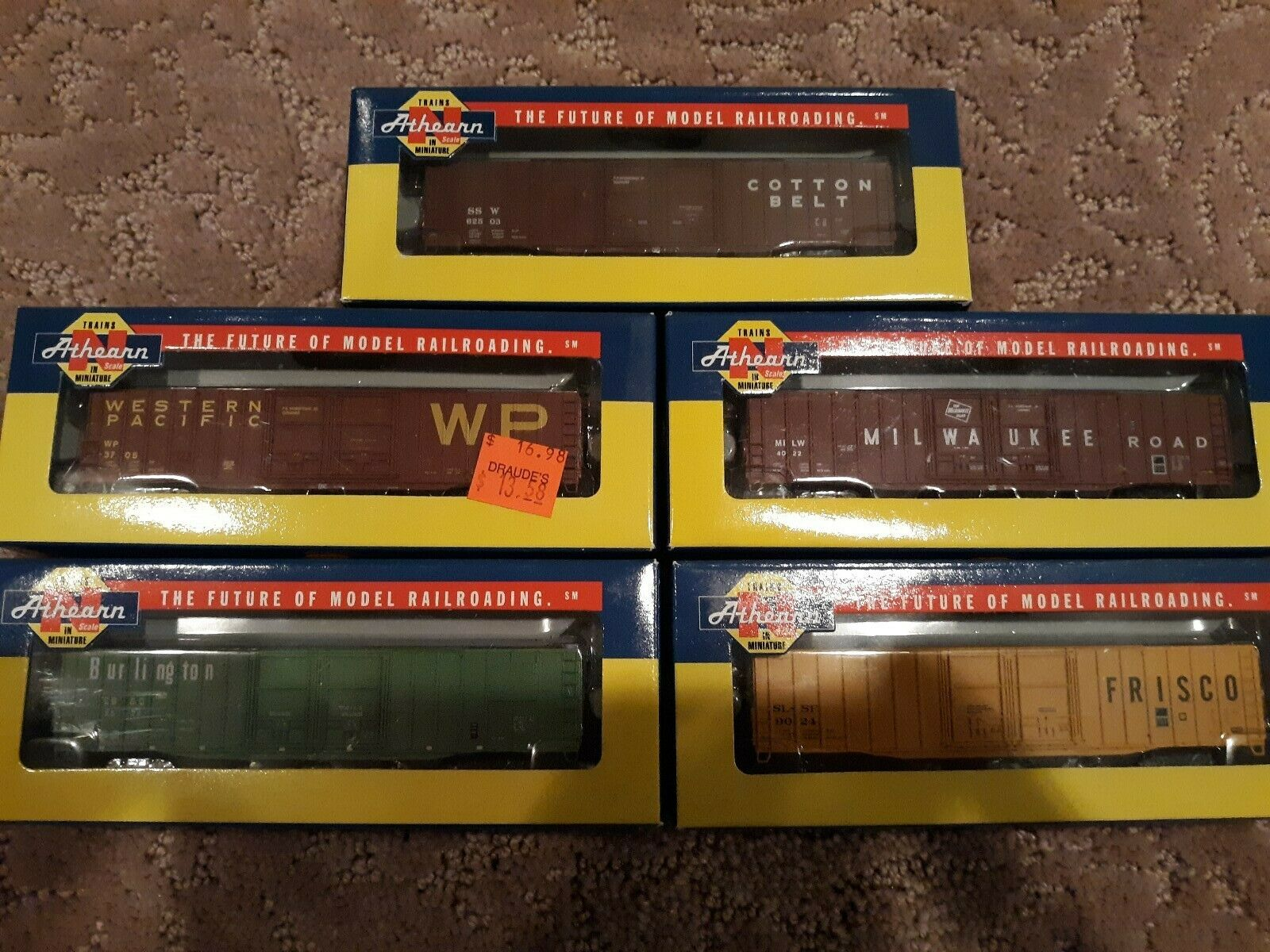 Athearn 60' PS Car Parts box cars - 5 freight cars NEW