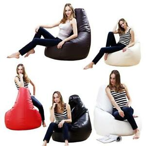 ADULT-XXL-LARGE-GAMER-BEANBAG-CHAIR-SEAT-LEATHER-BEAN-BAG-BAGS-GAMING-GAME-POD